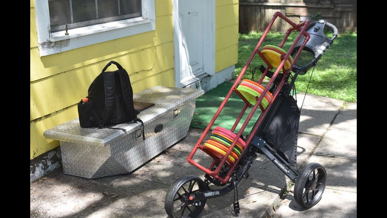 my diy disc golf cart is done great solution if your bag can never