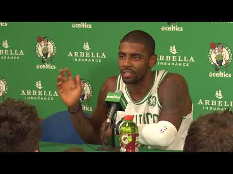 6fc049c5195ba (Full) KYRIE IRVING reacts to LEBRON JAMES  COMMENTS - Celtics Media Day  2017-18