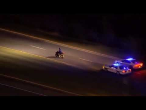 A Night-Time Motorcycle Police Chase Ends With An Arrest